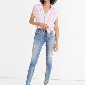 "madewell hi rise 9 "" skinny jeans destructed hem"